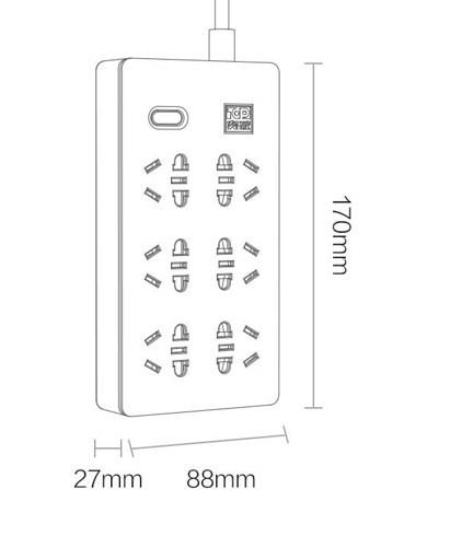 Размеры удлинителя Xiaomi Aigo TC0601 Power Strip